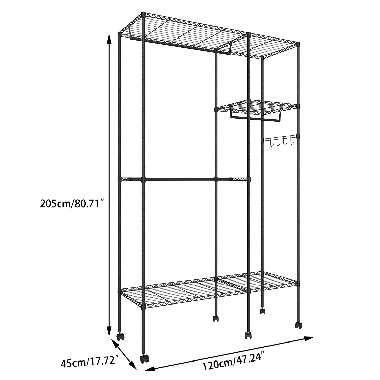 Coorun Mobiler Kleiderst/änder Kleiderstange Stabil Klappbar Garderobenst/änder mit Rollen,120 x 45 x 205 cm Schwarz
