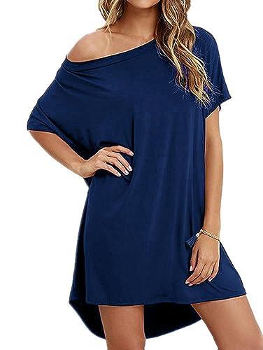 Angelady Women Loose T Shirts Home Short Sleeve Casual Hem Solid Top Dress
