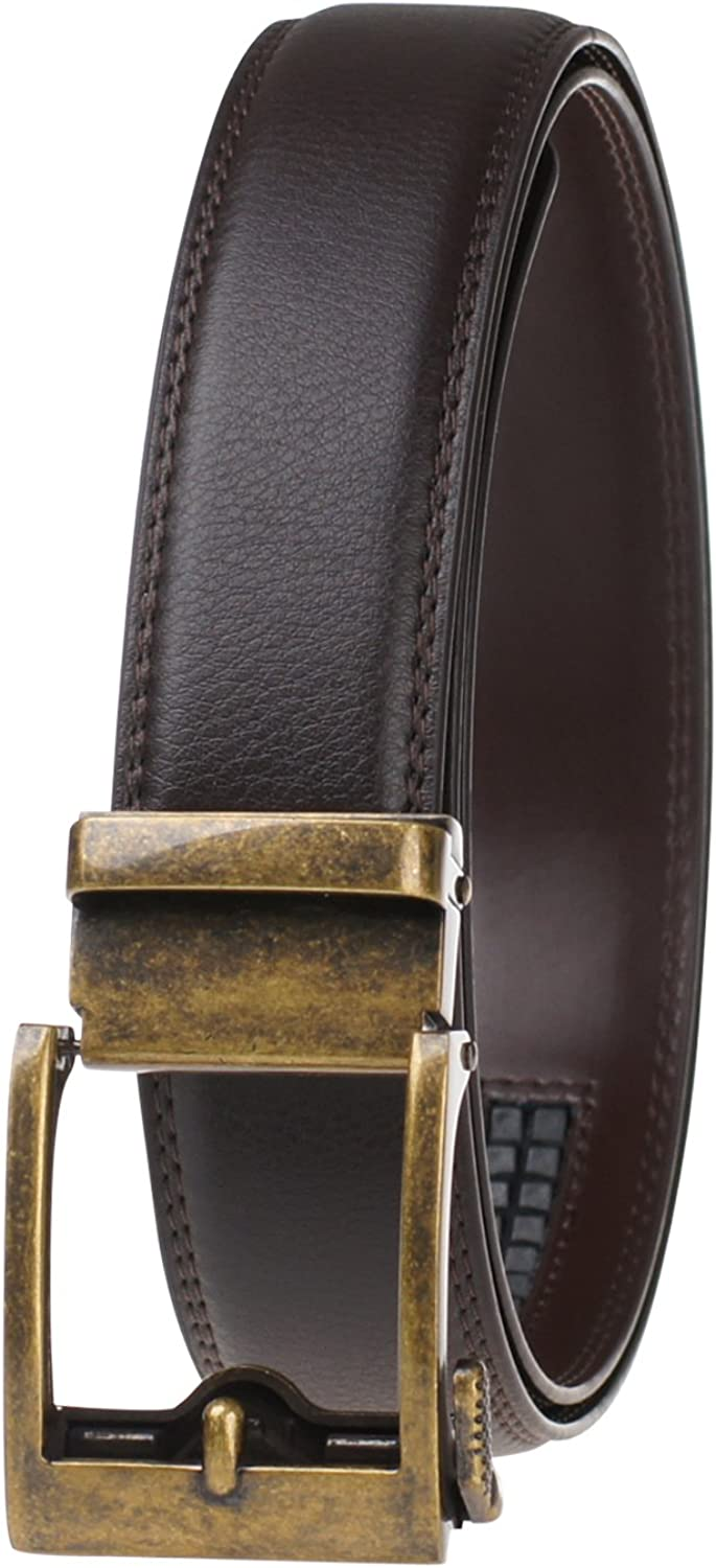 Black Genuine Leather Belt For Men-Ratchet Belt Automatic Buckle Business Belt GangTu