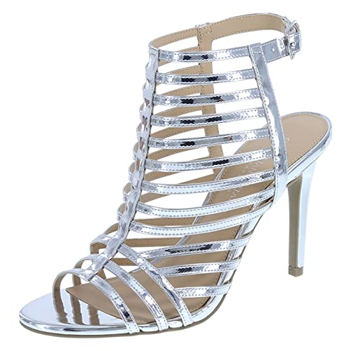 1f6143b658d6 Christian Siriano for Payless Women s Silver Smooth Krissy Caged Pump 6.5  Regular