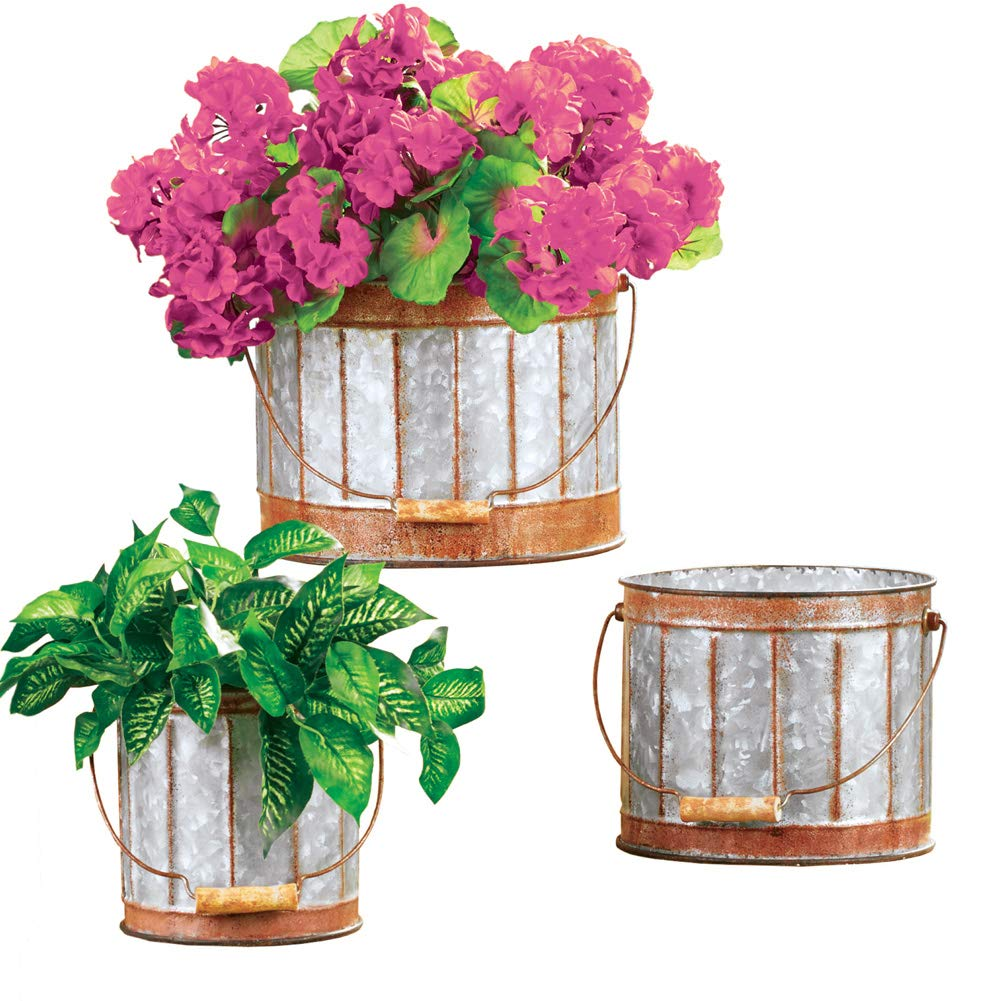 Rustic Galvanized Metal Planters with Handle and Rust-Colored Trim – Set of 3 – Home or Garden Decorative Accent