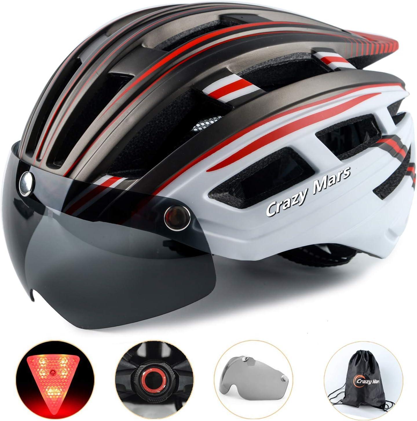 Crazy Mars Bike Bicycle Helmet – Cycling MTB BMX Helmet with Light and Magnatic Goggle Visor Men Women Adjustable