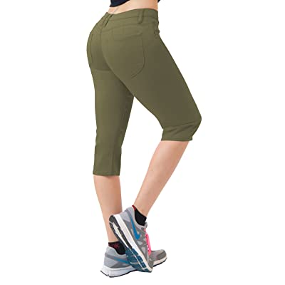 Hybrid & Co. Women's 17 inch Butt Lift Super Comfy Stretch Denim Capri Jeans at Women's Jeans store