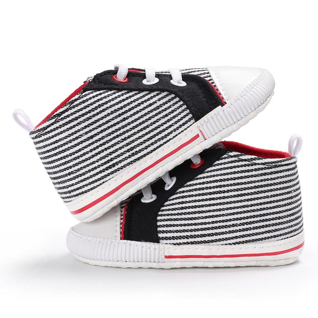 Amiley Cozy Warm Baby Girl Boys Stripe Canvas Shoes Sneaker Anti-Slip Shoes