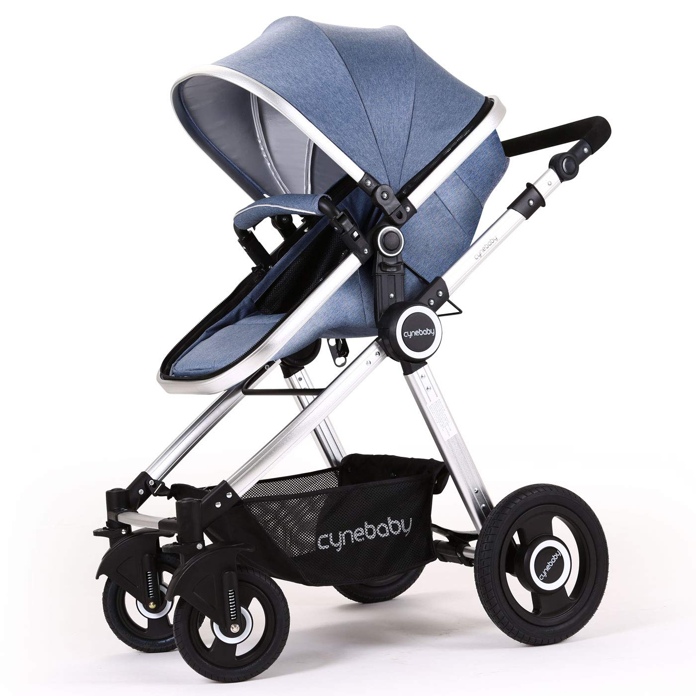 Baby Stroller Bassinet Pram Carriage Stroller - Cynebaby All Terrain Vista City Select Pushchair Stroller Compact Convertible Luxury Strollers add Foot Cover (Mature Blue) by cynebaby
