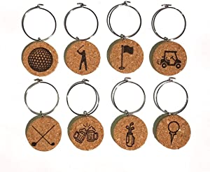 Golf Wine Charms (20+ Unique Sets) Cork Wine Glass Charms - Set of 8 Golf Charms, Golf Gifts - Wine Accessories, Golf Wine Gift Basket for Wine Lover – Drink Identifiers, Wine Tags for Glasses