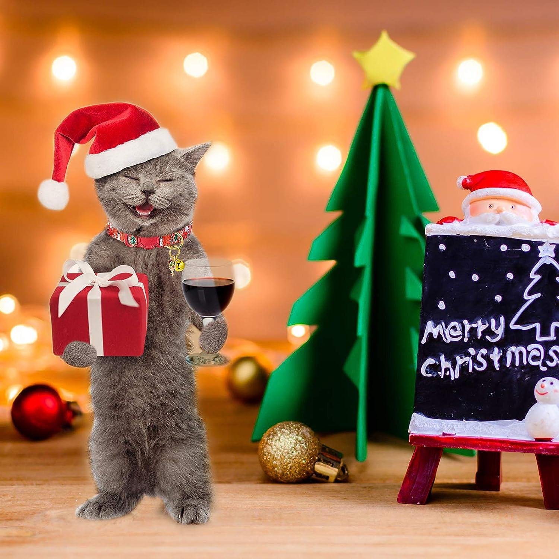 6 Pezzi Collare per Gatti Natale Collari per Gatti Staccabili con Campana Collare Natale Regolabile per Animali Domestici con Motivi Pupazzo di Neve Babbo Natale per Gatto Gattino Festa di Natale