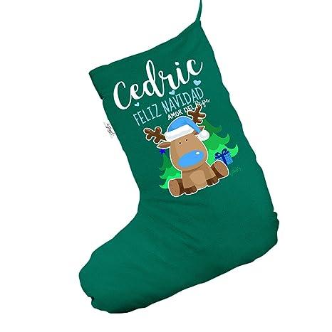 Personalizado reno feliz Navidad Jumbo verde Navidad medias calcetines