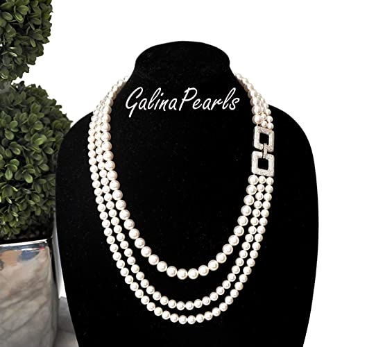 a31e5c7931ab9 Triple Strand Handmade SWAROVSKI Crystal White Pearl Necklace For Women 925  Sterling Silver Cubic Zirconia Pendant Clasp.