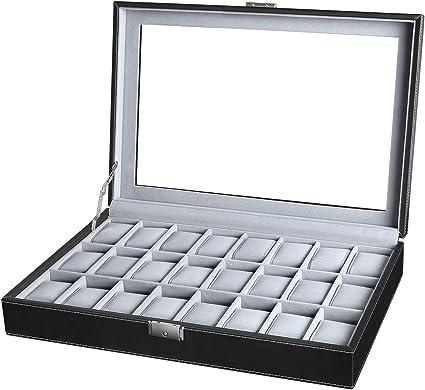 SONGMICS JWB024 - Caja para 24 de Relojes con Tapa de Vidrio, Color Negro y Gris: Amazon.es: Hogar