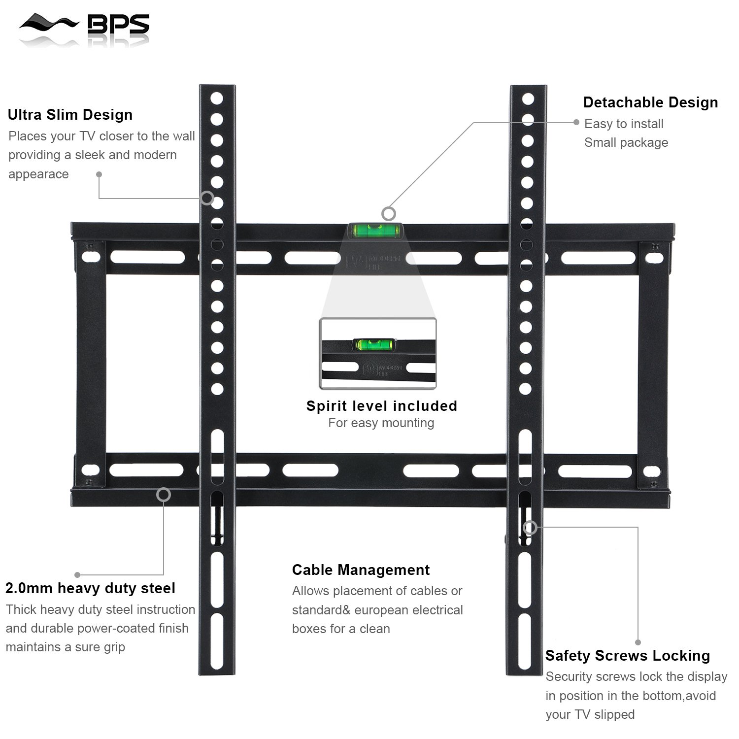 Bps Ultra Slim Tv Wall Bracket Mount For 23 55 Multi Room Distribution System On Wiring Diagram Electronics