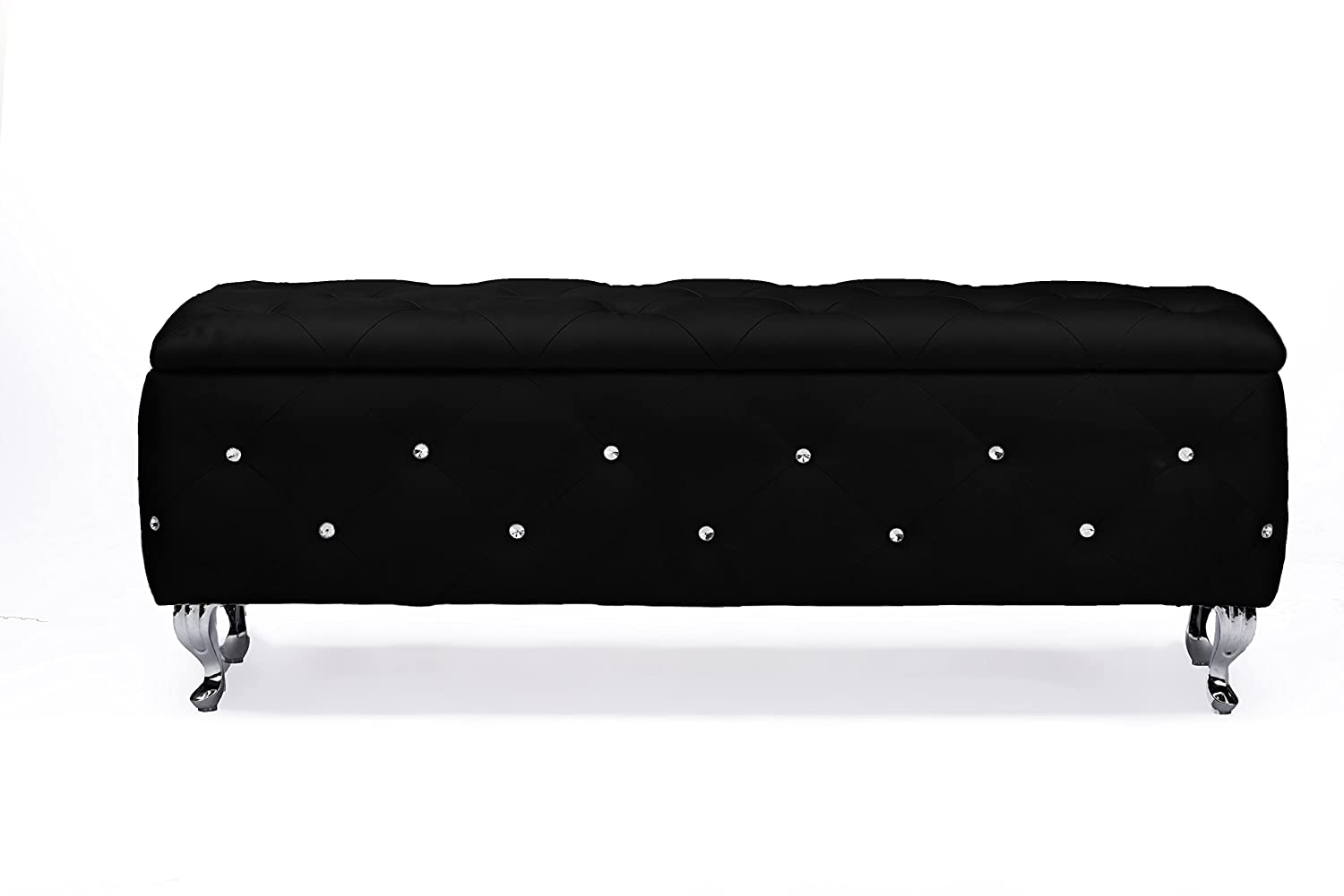 Exceptionnel Amazon.com: Baxton Studio Seine Wood And Black Leather Contemporary Storage  Ottoman, Black: Kitchen U0026 Dining