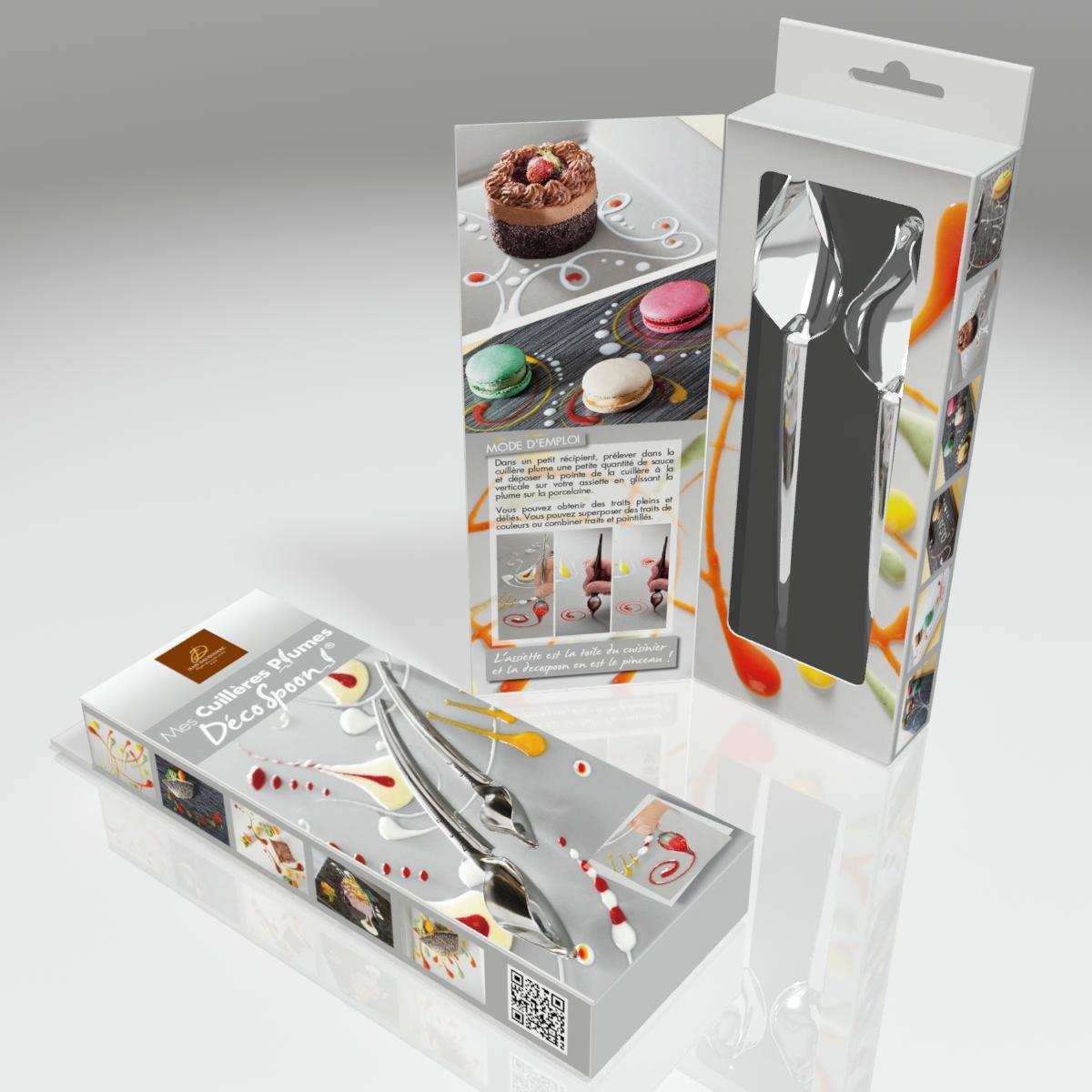 Jean Daudignac 0601050 Cucchiaio per decorare dolci e pietanze 2/pezzi acciaio INOX
