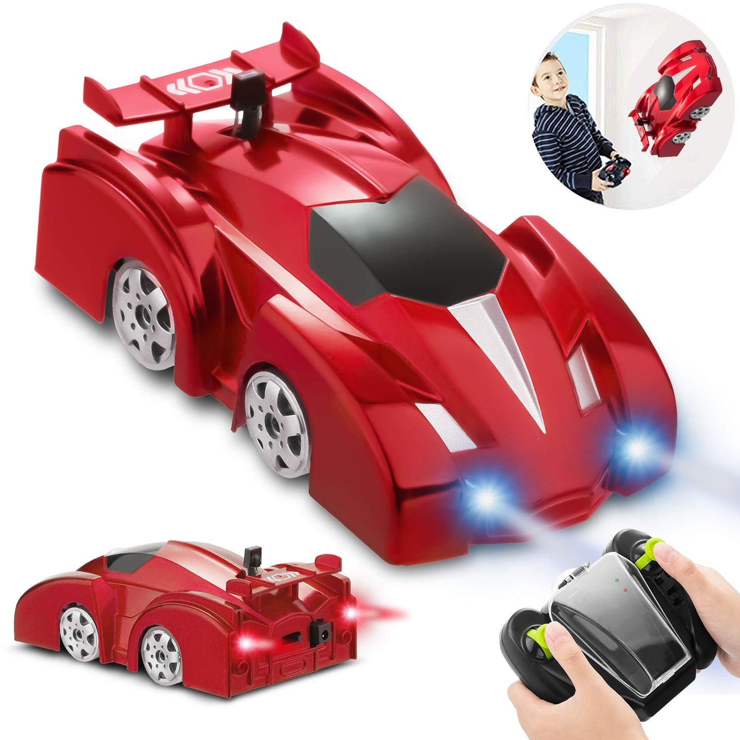 Remote Control Car, RC Cars Toys Dual Mode Durable Car with Strong Suction Power, 360°Rotating Stunt Rechargeable High-Speed Vehicle with LED Lights, Ideal Xmas Gift for Boys Girls by Miluo Tech