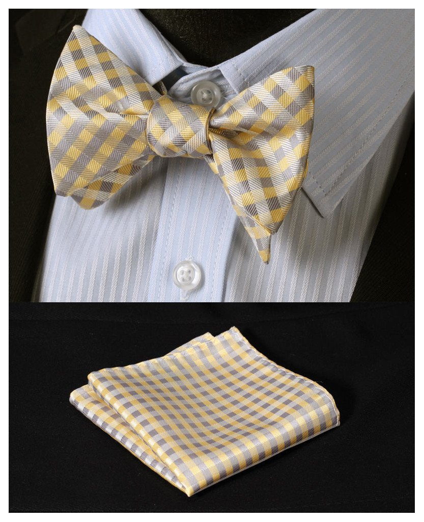 HISDERN Men's Check Jacquard Woven Wedding Party Self Bow Tie Set,Yellow,One Size