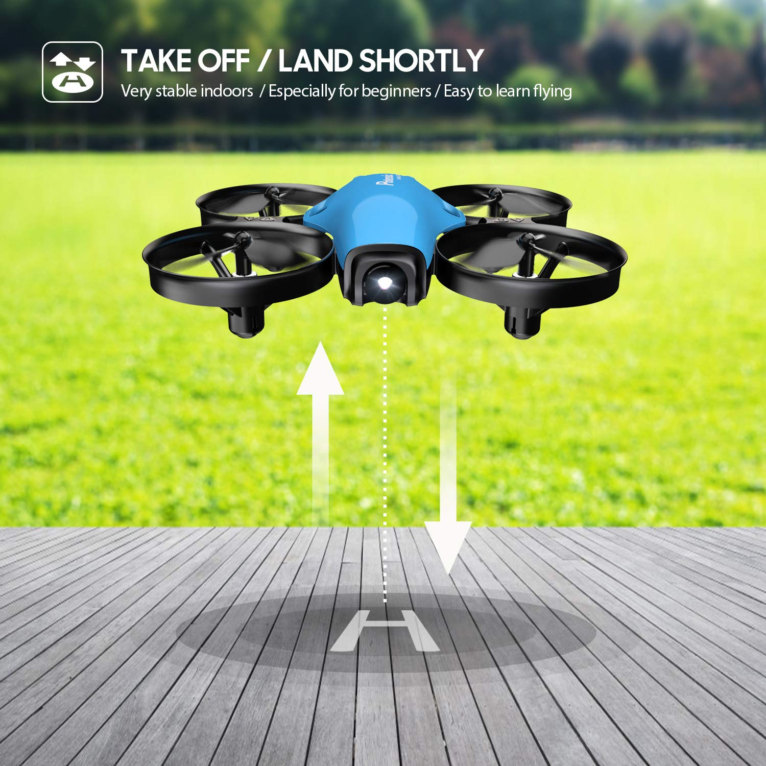 Mini Drone, RC Quadcopter, Potensic A30 One Key Take-Off/Land,Emergency Stopped, Altitude Hold,Auto Hovering,Drone for Kids (Blue) by Potensic (Image #2)