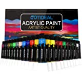 GOTIDEAL Acrylic Paint Set, 24 Colors/Tubes(23ml, 0.77 oz) Non Toxic Non Fading,Rich Pigments for Artist, Hobby Painters, Adu
