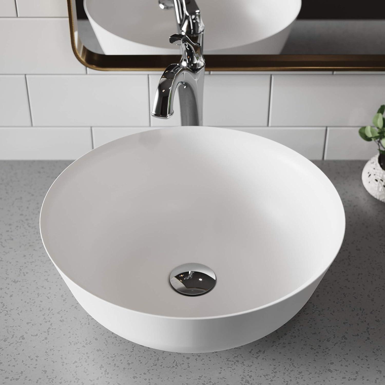 Kraus KSV-6MW Natura Bathroom Sink, Round White 16.4 Inch