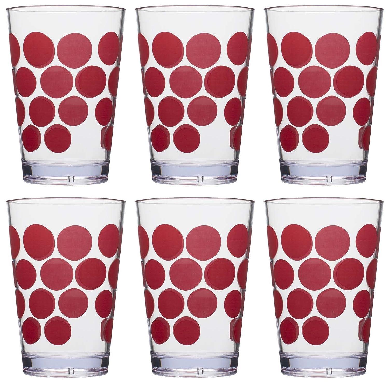 Zak Designs Dot Dot Juice Tumbler, 7-Ounce, Red, Set of 6 1278-0650-ISET