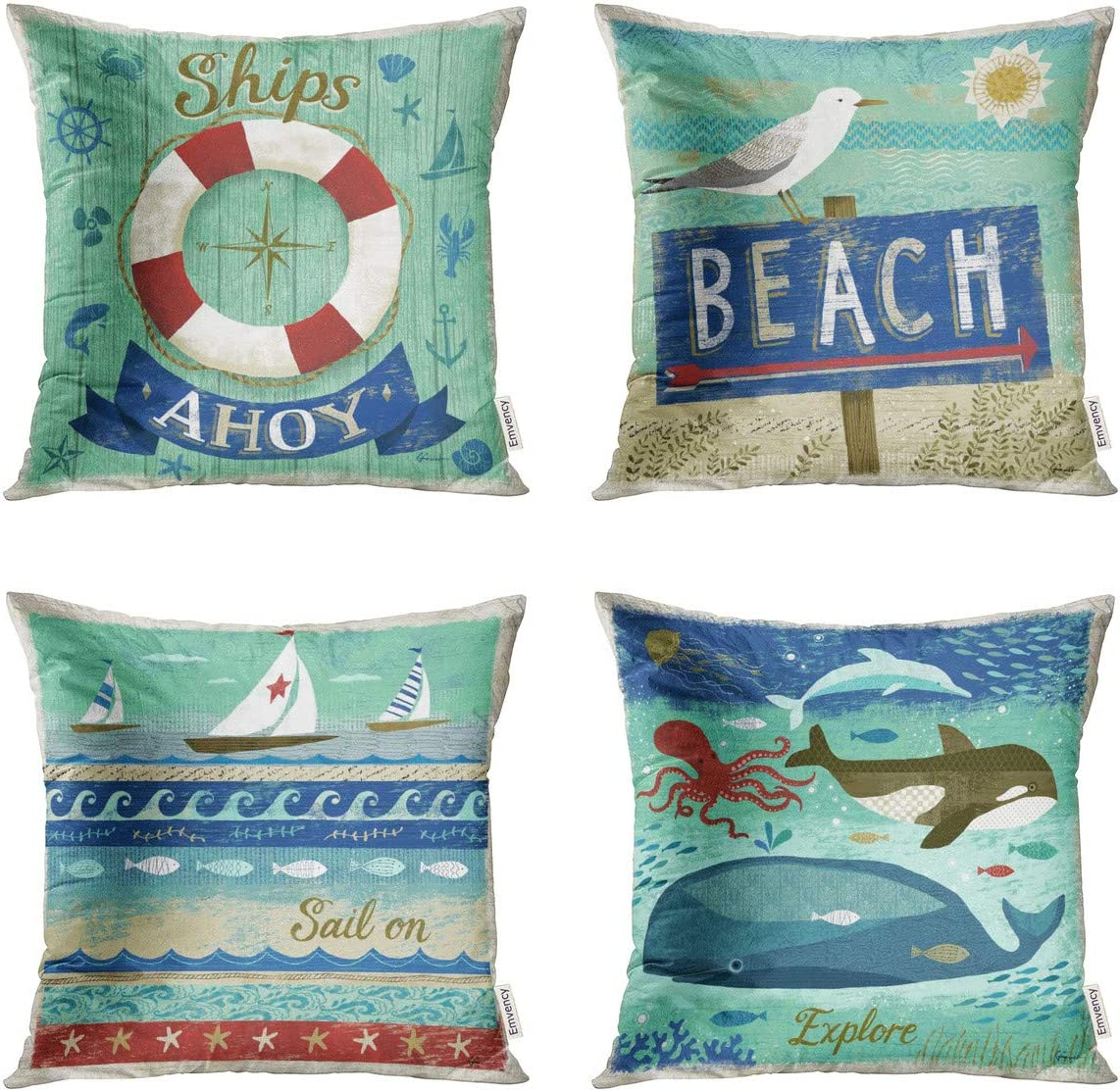 Taysta Pack of 4 Throw Pillow Covers Cases Beach Travel Coastal Whimsical Merry Christmas Decorative Square Pillowcase Cover Case Cushion Home Decor 18 x 18 Inches