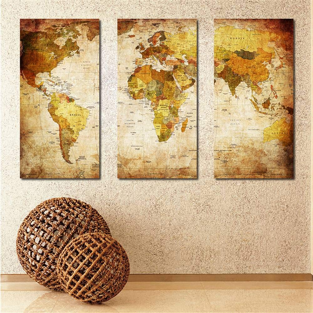 BFY Frameless Huge Wall Art Oil Painting On Canvas World Map Home Decor