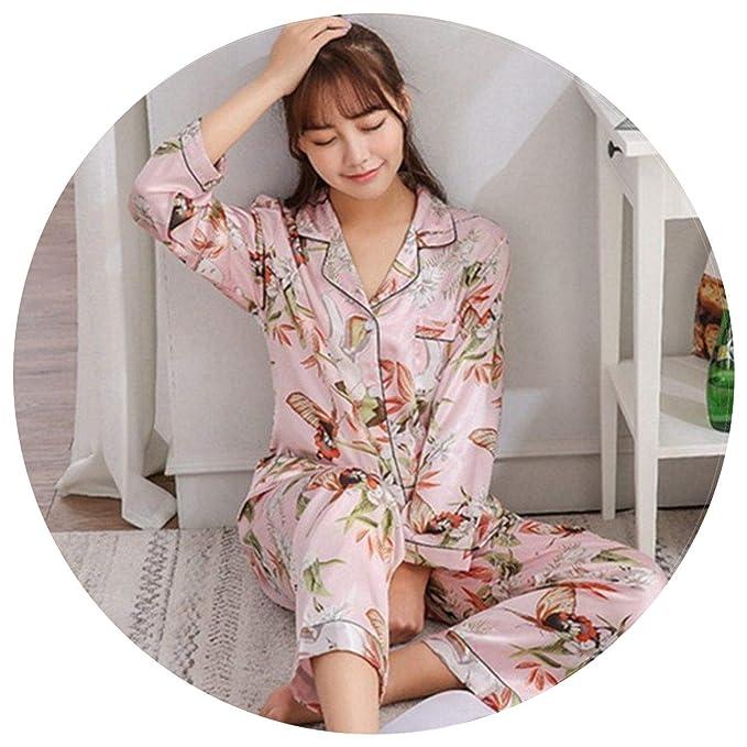Amazon.com: Pijama de satén para mujer con estampado de ...
