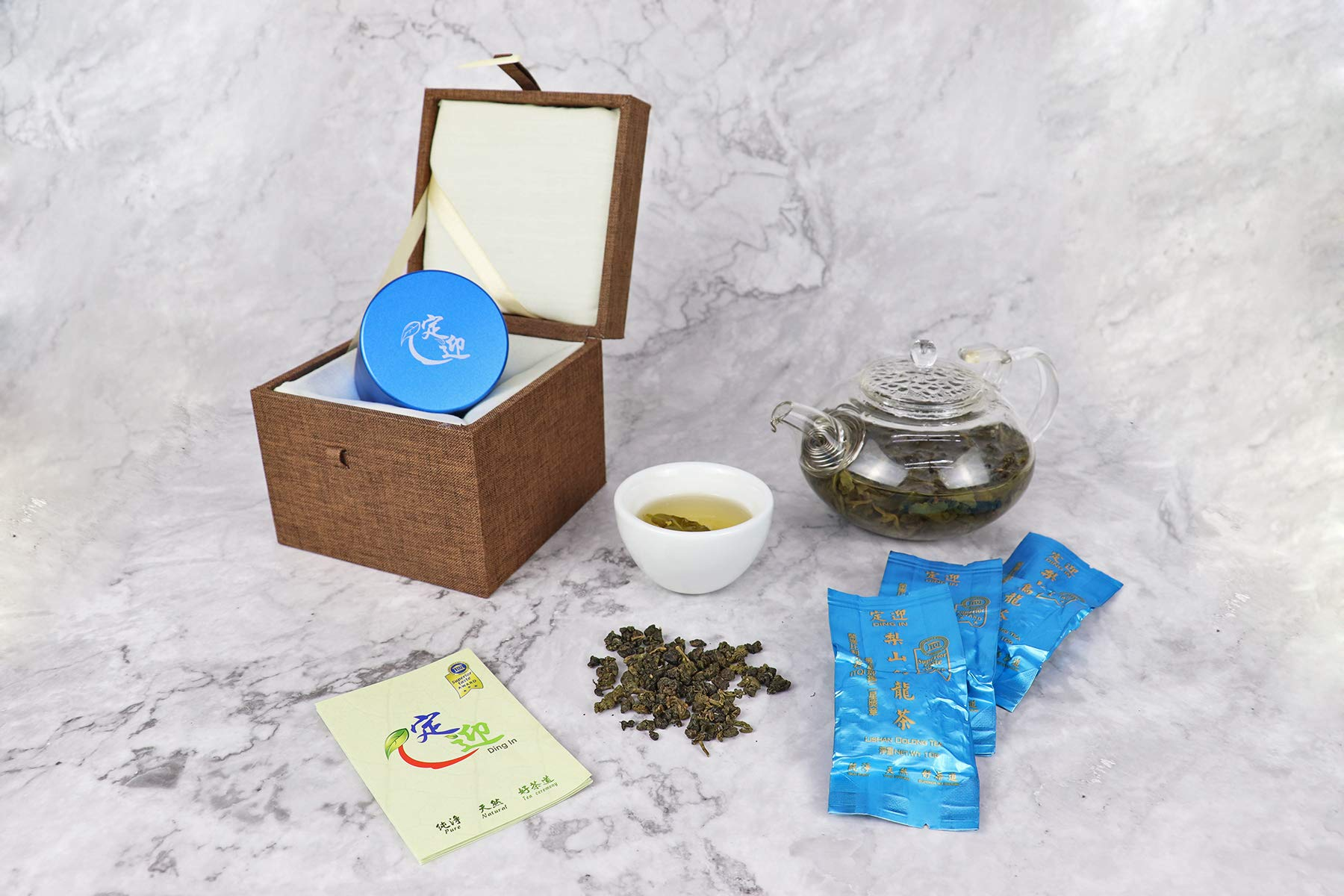 DING IN Lishan Oolong Tea Horn Buckle Wooden Box 10g3bag/can X2 by Ding In ltd. (Image #3)