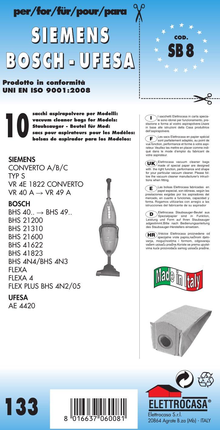 SB 8 sacchetti per scopa elettrica confezione da 10 sacchi carta elettrocasa