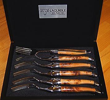 Laguiole en Aubrac 6 piezas, tenedor Set Brillant, enebro, artesanal fabricado en Francia: Amazon.es: Jardín