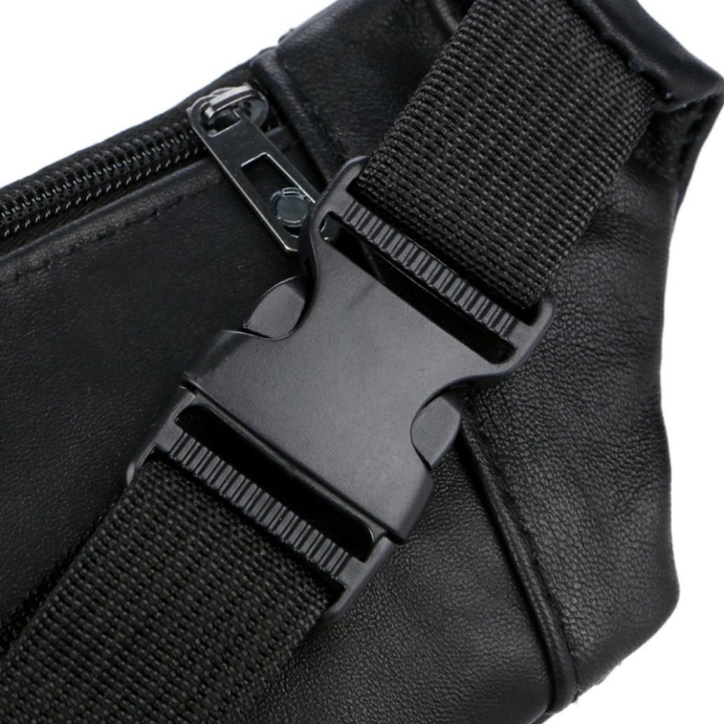 Fanny Packs for Men Auwer Unisex Outdoor Sports Casual Zipper Unisex Waist Pack Bag Black
