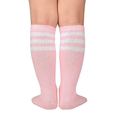 White Crew Cut Calf High Sock with Three Red Stripes