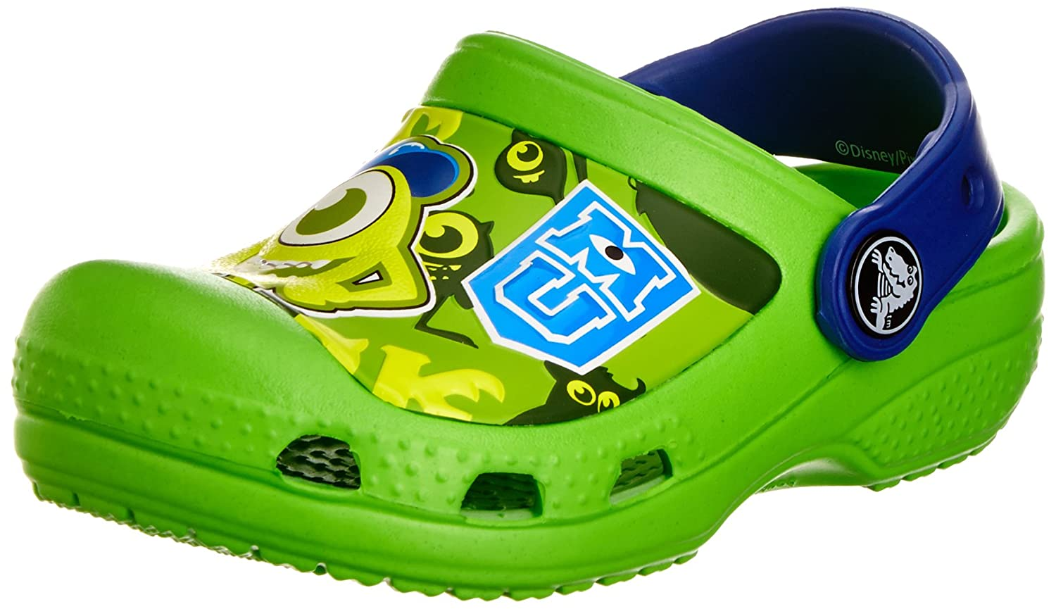 Crocs Boys' CC Monsters Clog Neon Green/Cerulean Blue 3 M US Little Kid 1025999