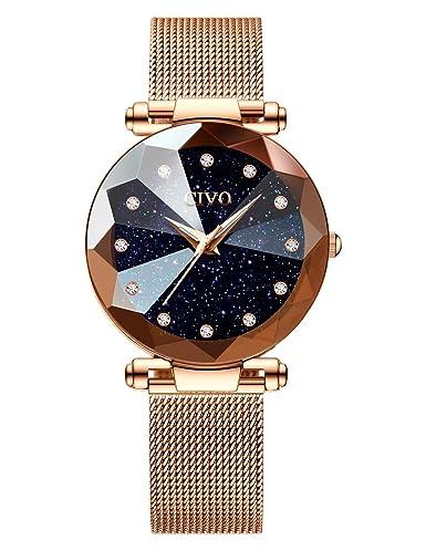 CIVO Relojes para Mujer Reloj Damas de Malla Impermeable Lujo Minimalista Oro Rosa Elegante Banda de