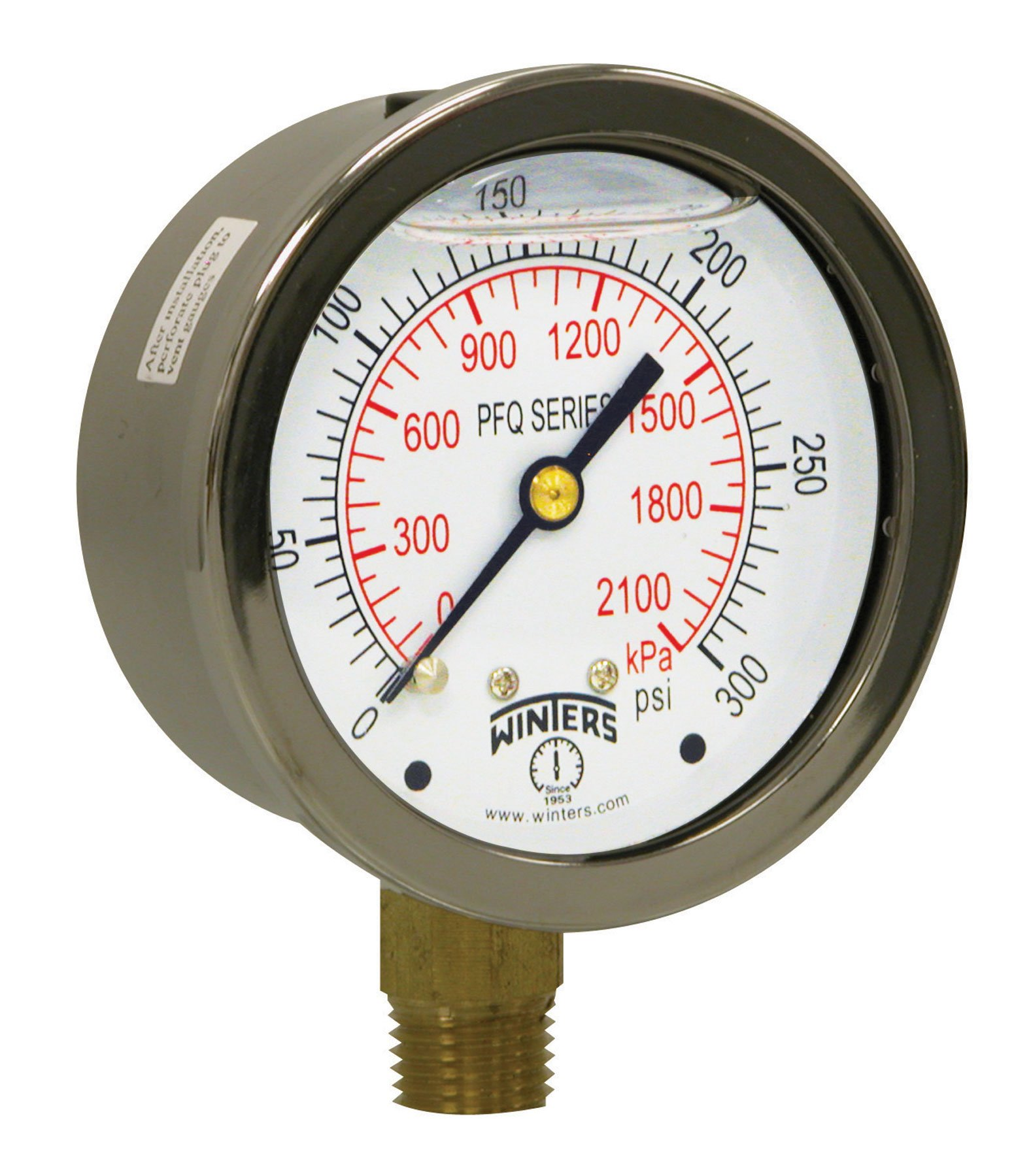 Winters PFQ Series Stainless Steel 304 Dual Scale Liquid Filled Pressure Gauge with Brass Internals, 0-300 psi/kpa,2-1/2'' Dial Display, +/-1.5% Accuracy, 1/4'' NPT Bottom Mount