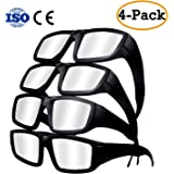 Solar Eclipse Glasses - 2017 Safety Plastic Goggles with CE and ISO Certified for Direct Sun Viewing, Eye Protection , Block Sun Ultraviolet UV Lights (4 Pack)