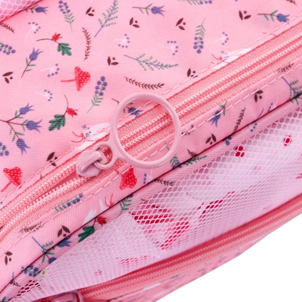 Premium Zipper Multiple Pockets Flamingo White Freelynn Travel Toiletry Bag Hanging for Women Men Make Up Organiser Bag for Overnight Camping