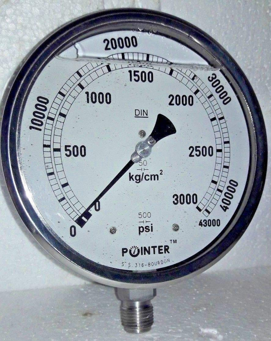 High Pressure Gauge Dual Scale 0-3000 BAR /0-43000 PSI Ideal for Common Rail New
