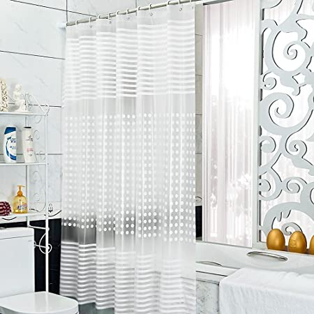 Diossad Shower Curtain Transparent PEVA Waterproof Mildew Resistant Long Length Bathroom With 12 White
