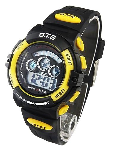 O.T.S - Reloj Digital de Pulsera Deporte 50M Resistente al Agua para Niño Unisex Estudiante Waterproof Wrist Watch - Amarillo/Negro: Amazon.es: Relojes