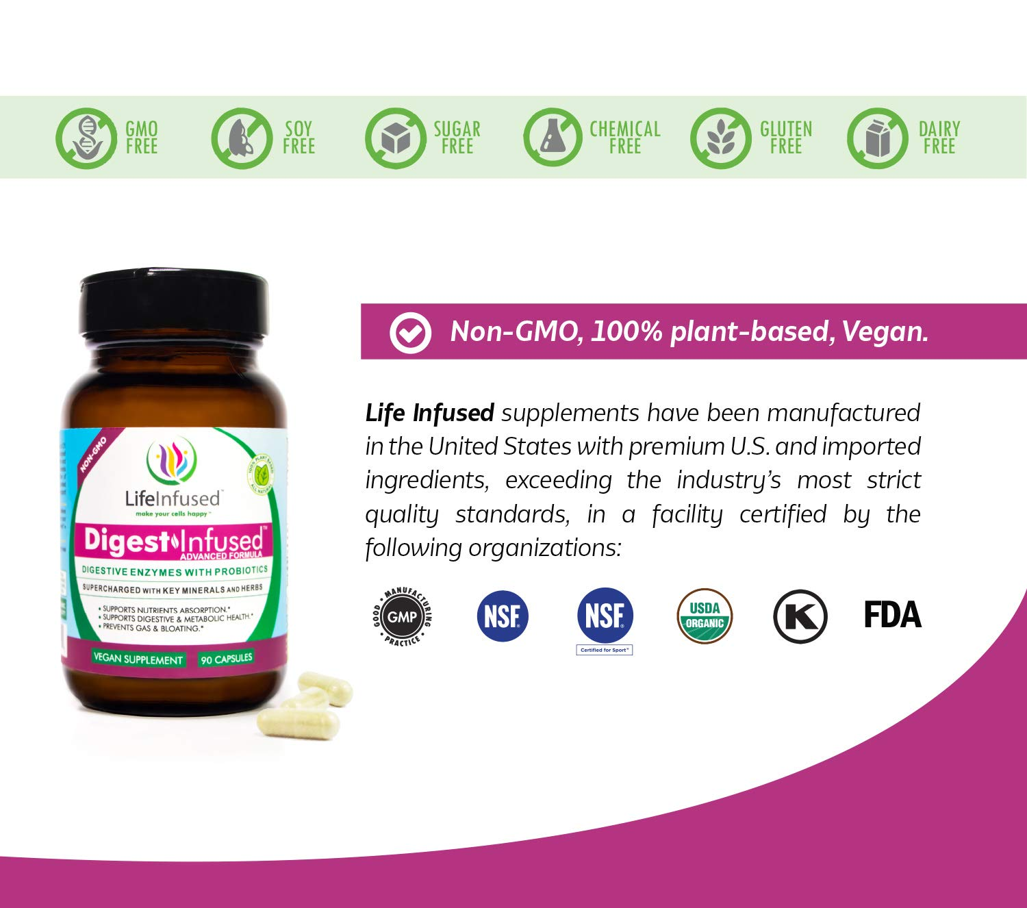 Life Infused® Digest Infused™ Digestive Enzymes with Probiotics Supplements. Twenty One Plant-Based Enzymes Plus Minerals and Algae. Vegan Approved.