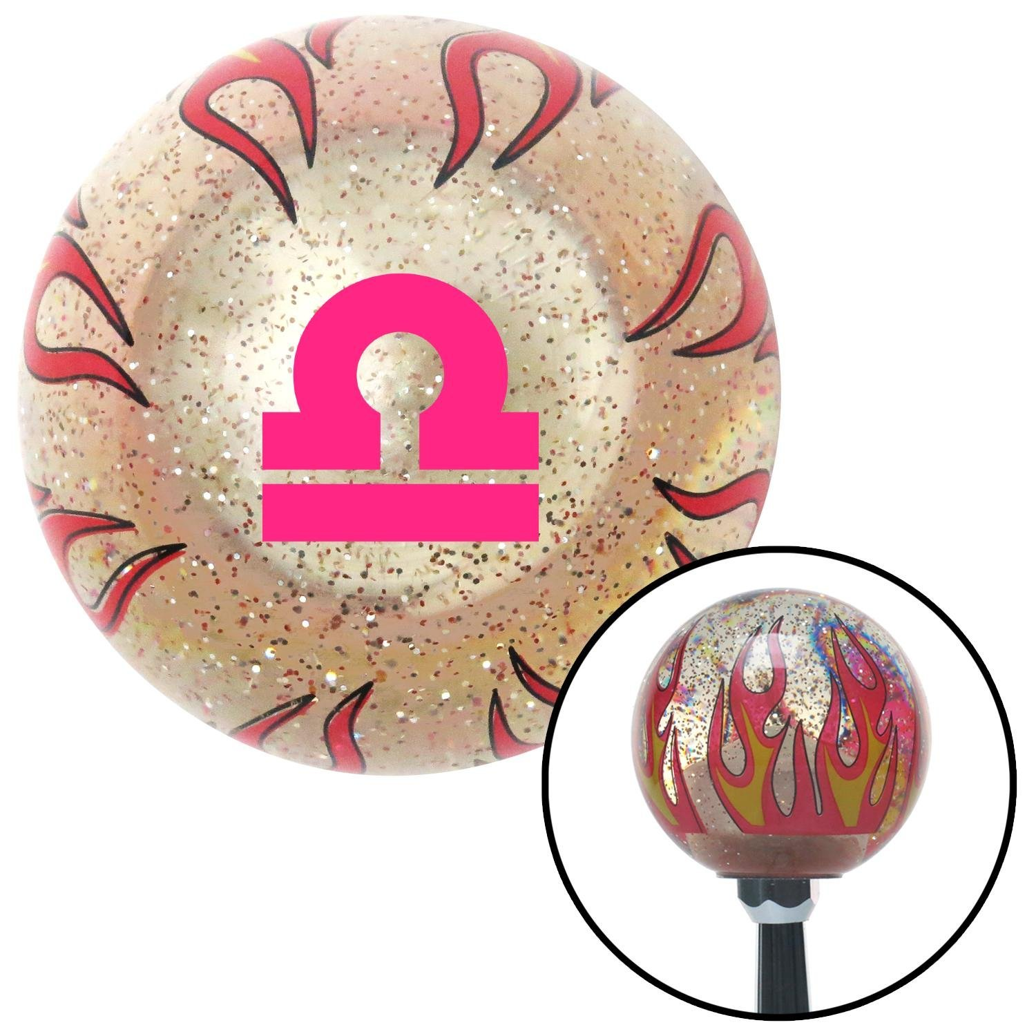 American Shifter 295641 Shift Knob Pink Libra Clear Flame Metal Flake with M16 x 1.5 Insert