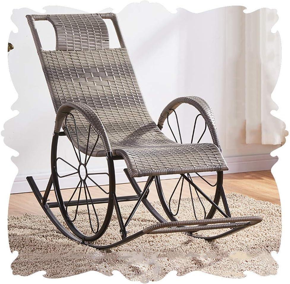 N /A Silla mecedora de jardín para todo tipo de clima, sillón de mimbre PE con reposapiés y tumbonas para el sol, porches para patio, 8 colores (color: F, tamaño: 122 x 46 x 80 cm)
