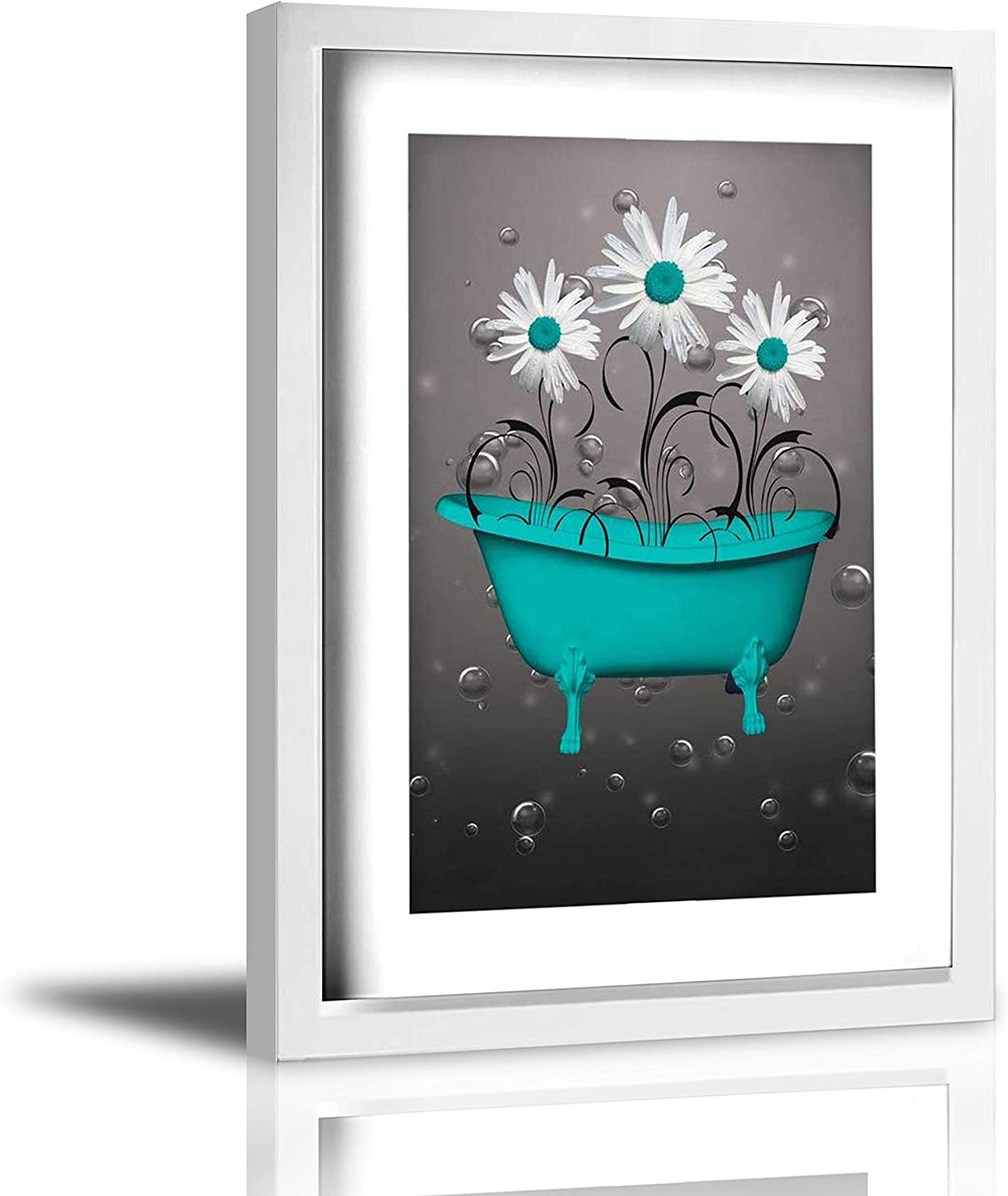 """Coolertaste Teal Blue Gray Daisy Flowers Bubbles Rustic Canvas Wall Art Prints Framed Picture Wall Decor Vintage Bathroom Decor Ready To Hang 9"""" X 13"""""""