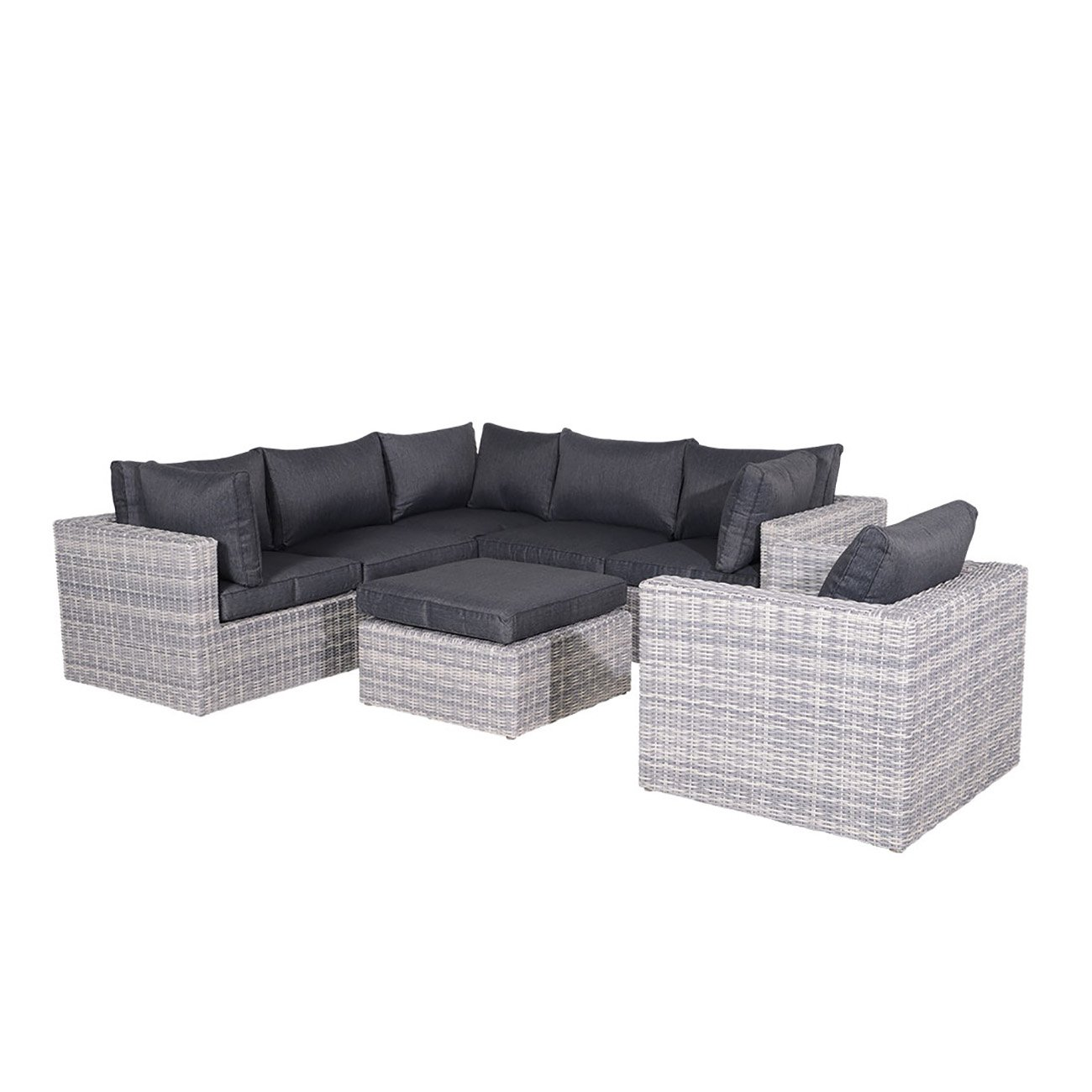 gartenlounge polyrattan outliv silverbird 5 tlg grau. Black Bedroom Furniture Sets. Home Design Ideas