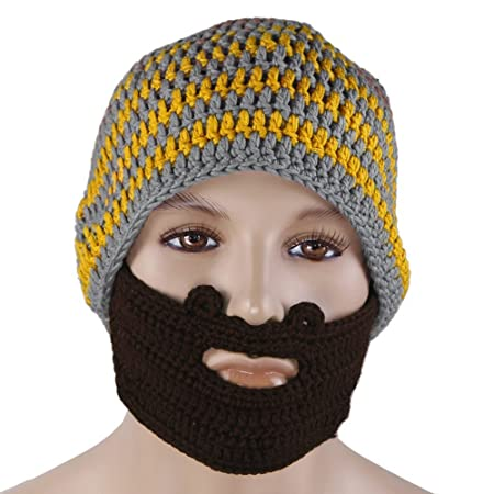 0b95b535 VISKEY Crochet Beard Beanie Mustache Mask Face Warmer Ski Hat Cap