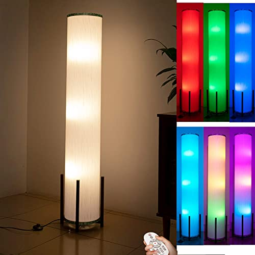 CAUDTK Column Floor Lamp Remote Control Dimmable 61 Inch 3 Smart Light Bulbs Color Changing Modern LED RGB Tall Crystal Standing Lamp