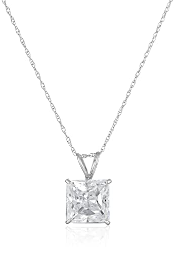 Amazon 10k white gold solitaire pendant set with princess cut 10k white gold solitaire pendant set with princess cut swarovski zirconia 3 cttw mozeypictures Image collections