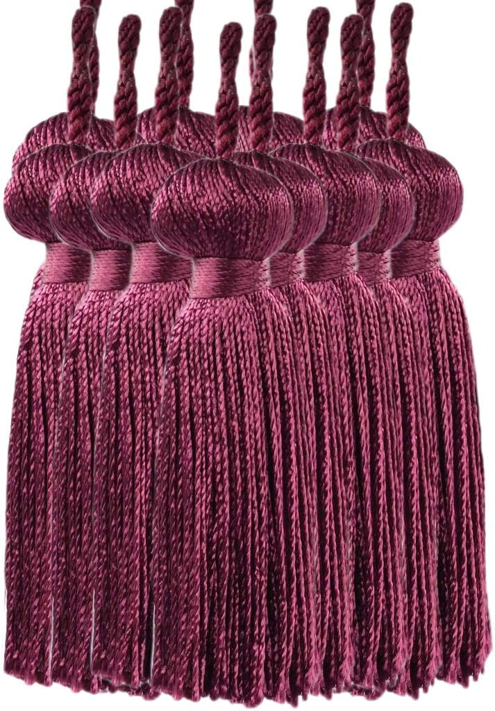 Color: Red Wine 11309 D/ÉCOPRO Set of 12|Burgundy Petite Key Tassel|3 inches Long Tassel with 1 inch Loop|Style# BT3 E10