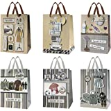 """9"""" Medium Fathers Day Gift Bags, for Birthdays, Fathers Day, Mens or Anniversary Theme Party Decorations - Set of 6"""