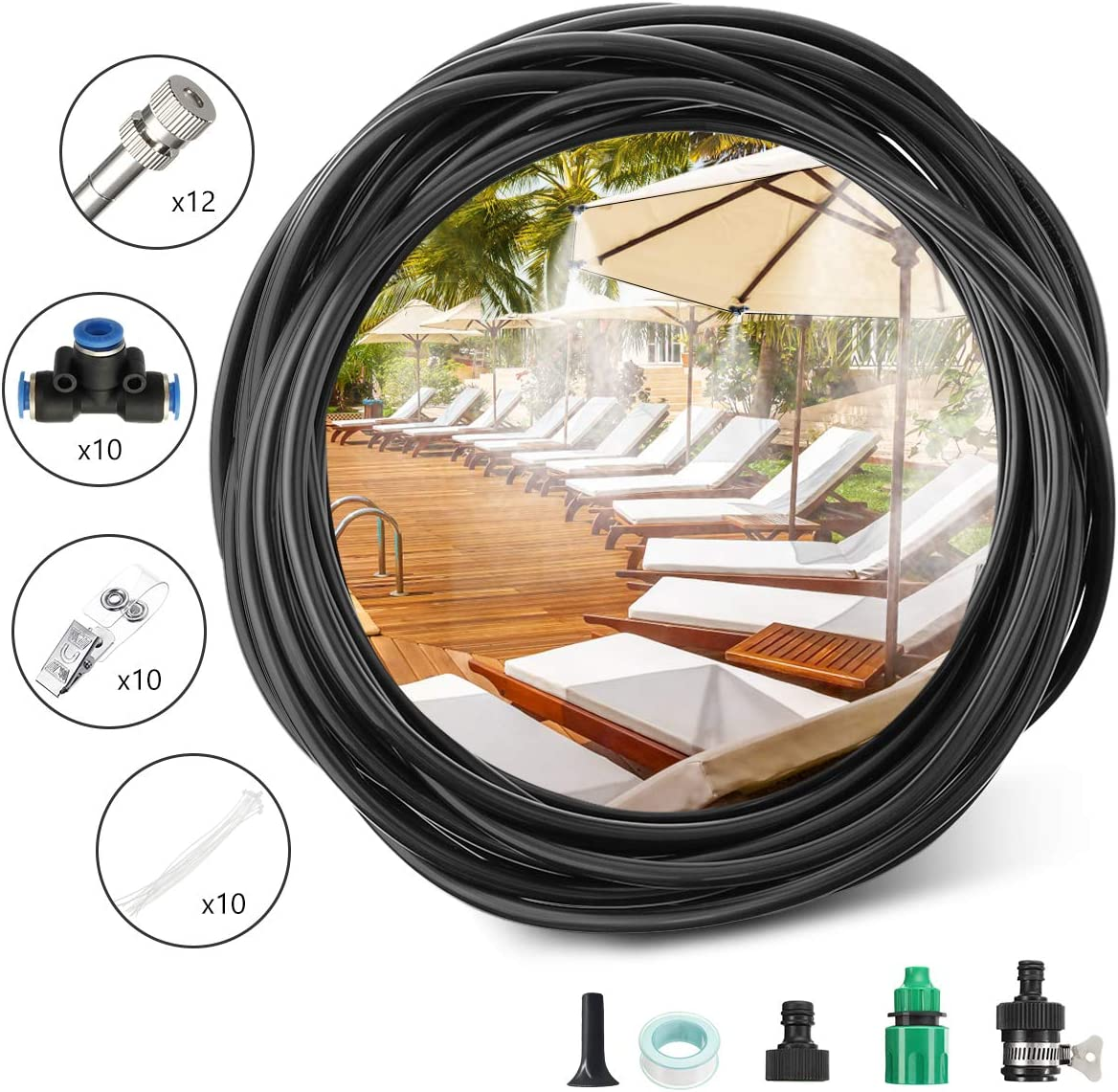 PATHONOR Misting Cooling System 32.8ft 10M 4 7 Tubing 12 Misting Nozzle Outdoor Cooling System for Patio Garden Lawn Swimming Pool Umbrella Trampoline